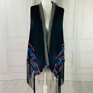 LN UMGEE Black & Embroidered Fringe Boho Vest L